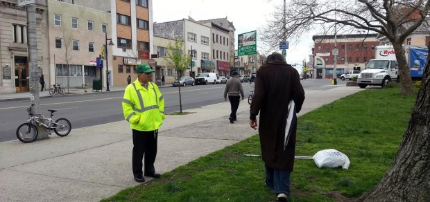 The Ironbound Business Improvement District works closely with the Newark Police Department, New Jersey Transit and social service organizations to treat the issues of panhandling and homelessness in and around the area of Penn Station in Newark. Pictured here is a Hospitality Ambassador engaged with a panhandler outside of Newark Penn Station.