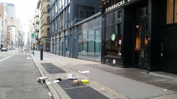 Common litter scene - Each piece of litter here originated from within the Starbucks on the right. When the garbage was picked up, only the trash bags were taken, any items that were unsecured were left behind.